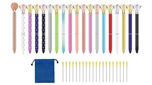 Wondoerful Direct Big Diamond Pen 20 Pieces Rhinestones Crystal Metal Ballpoint Pens Black Ink With 20 Pack 3.2'' Ballpoint Pen Refills, Different Colors (20Pcs Big Diamond Pen)