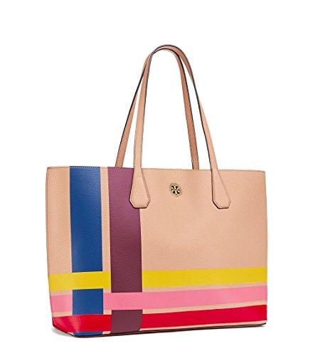Tory Burch Leather Tote Bag Handbag Multi color Variegate...