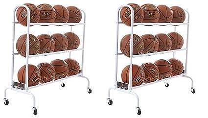 BSN Sports 12 Ball Cart Wide Base (12 Balls), White (2-(Pack))