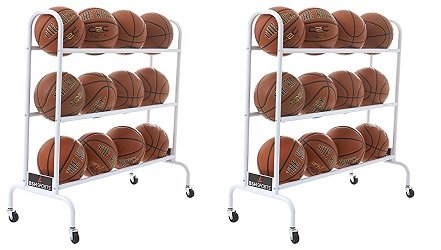 BSN Sports 12 Ball Cart Wide Base (12 Balls), White (2-(Pack)) by BSN Sports