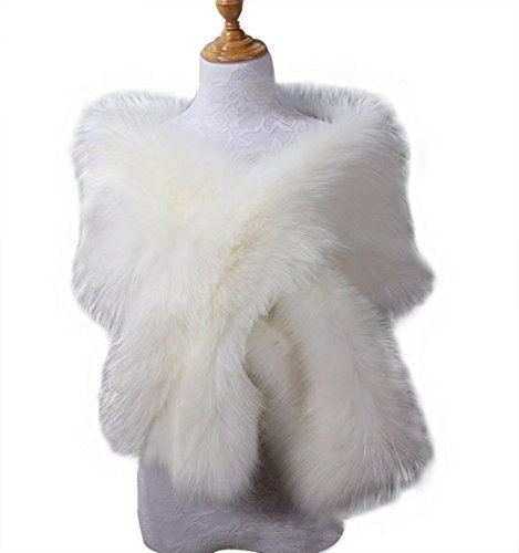 Fake Faux Fur Scarf Wrap Women's Neck Collar Wrap Winter Warm (White Shawl Dinner)