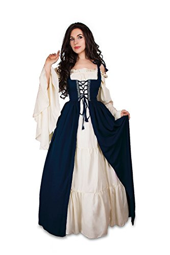 Renaissance Medieval Irish Costume Over Dress & Cream Chemise Set (L/XL, Indigo)
