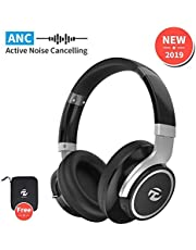 Active Noise Cancelling Headphones, Wireless Bluetooth Headphones ANC Over Ear Headsets with 40 Hours Playtime, Rotatable Soft Ear Pads, Wireless Headphone for Travel Work Phone/PC/iPad MornPi (Black)