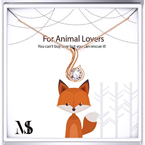 Fox Rose Necklace - SOULMEET Sterling Silver Rose Gold Fox Necklace for Animal Lovers, Cute Pendant Necklace for Women Girls (Rose Gold)