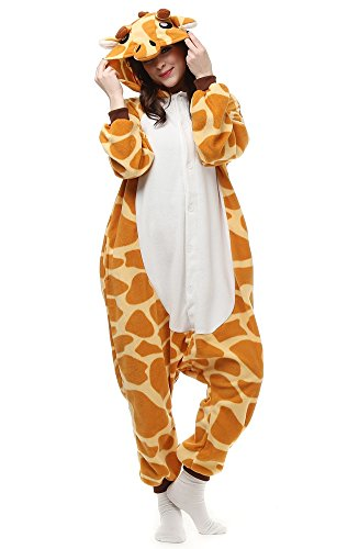 OLadydress Cute Giraffe Costumes Pyjamas, Teens Boys Girls Cosplay One-piece Pajamas Orange Large ()