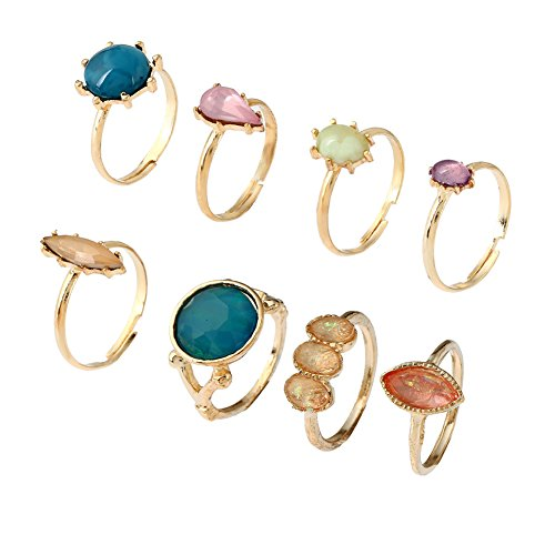 Oval Gemstone Stackable Ring - Gold Crystal Bohemian Vintage Hand Harness Stack Finger Nail Ring Bracelet Jewelry for Women (Healing gemstone Stackable Ring Set)