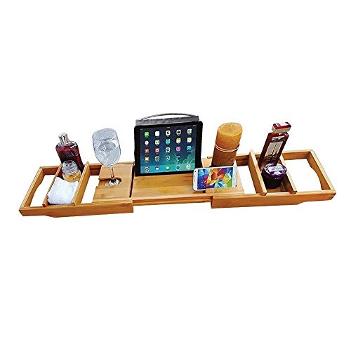 - Vertall Luxury Bamboo Bathtub Caddy Tray Spa Organizer Wooden - Expandable with Wine Glass, Book and Phone/Tablet Holder