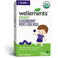 Wellements Organic Elderberry Pops, 10 Pack, Immune Support for Children, Free from Dyes, Artificial Flavors, and Unnecessary Preservatives