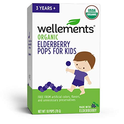 Wellements Organic Elderberry Pops, 10 Pack, Immune Support for Children, Free from Dyes, Artificial Flavors, and…