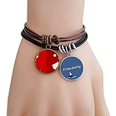 Germany National Flag Map Red Pattern Friendship Bracelet Leather Rope Wristband Couple Set Estimated Price -