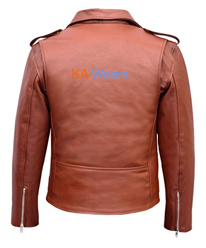 Classic Leather Mens Biker Vintage Motorcycle Jacket Brando Motorbike qAIxARw