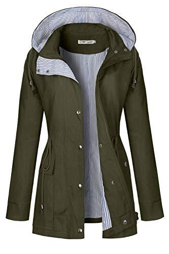 (BBX Lephsnt Rain Jackets Women Lightweight Raincoat Striped Lined Waterproof Windbreaker Active Outdoor Hooded Trench Coats Army Green)