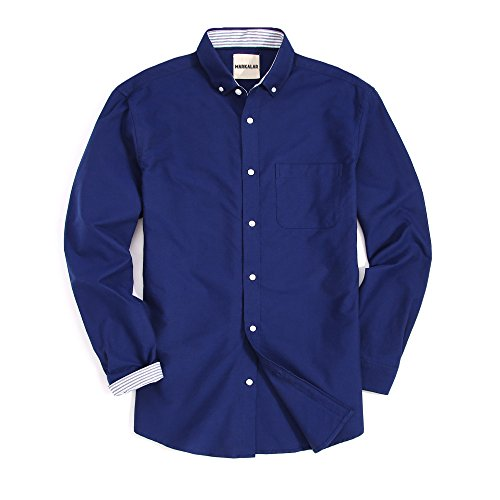 Mens Casual Oxford Dress Shirts Regular Fit Long Sleeve Button Down Shirts,Navy,XL (Casual Men Oxfords)
