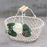 Petite Ivory Flower Girl Basket - Ivory Metal Wedding Basket w/Wood Handle - Flower Girl Petal Basket - Flower Basket by Ragga Wedding