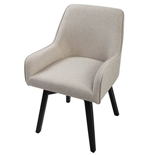Dining Room Swivel Chairs (Swivel Home Office Chair Dining Room Chairs with Comfortable Seat and Black Wooden Leg for Living Room, Desk, Office, Kitchen and Home, Sand)