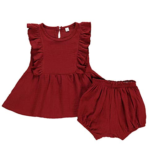 pollyhb Baby Outfits Infant Baby Girl Solid Color Fly Sleeve Ruffles Tops+Shorts 2 Piece Outfits Red ()