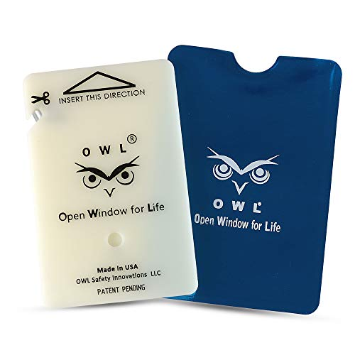 OWL Car Window Breaker and Seatbelt Cutter Card Auto Crash Emergency Escape Tool Life Saving Survival Kit 2-in-1 Tool - Made in USA (Blue Holder)