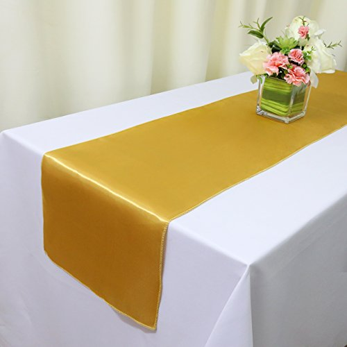 TRLYC 12x108 Inches Luxury Gold Satin Table Top Runners (Pack of 6) (Satin Finish Gold Finish)