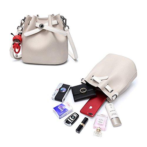 Leather Bag,Women Pink Bag Pure Mynos Purse Satchel Bucket Shoulder Drawstring Color phone Messenger Girl Cell Bag qp1ZR