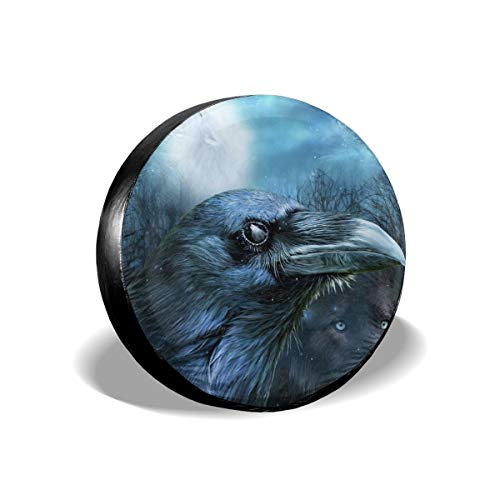 Beach Surfers Spare Tire Cover Raven Wolf in The Moonlight Spare Tire Covers Waterproof Dust-Proof Universal Spare Wheel Tire Covers Fit for Trailer RV SUV Truck 16 Inch