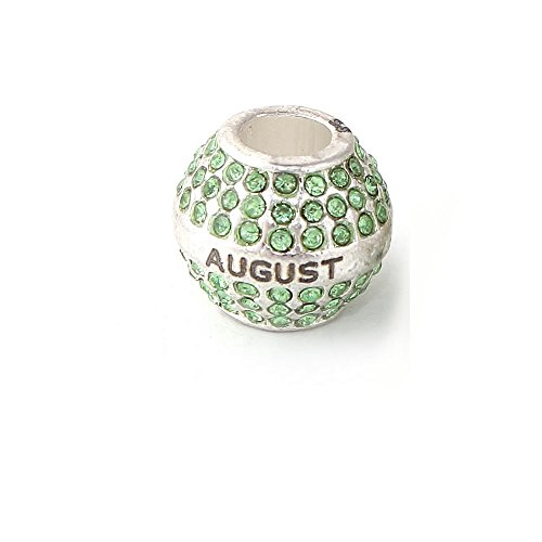 SEXY SPARKLES Birthday with Month Charms for Snake Chain Charm Bracelet (August)