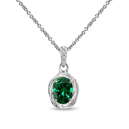- Sterling Silver Simulated Emerald & Cubic Zirconia 8x6mm Oval Love Knot Pendant Necklace