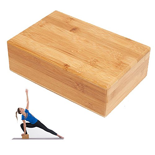 BOSSJOY Bamboo Yoga Block Brick (1 PC), Bamboo Handstand Block Provides Stability Balance & Support, Improve Strength and Deepen Poses - Great for Yoga, Pilates, Workout, Fitness & Gym by BOSSJOY