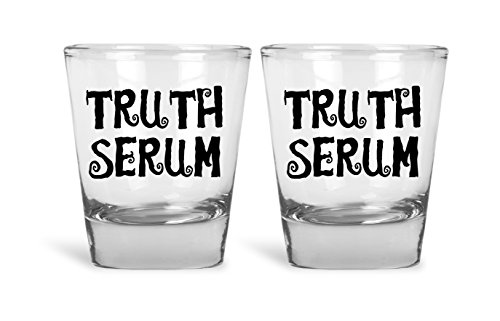 Truth Serum Funny Novelty Couples Shot Glasses | 2 Pack Shot Glasses | Great for Bride, Groom, Bachelor and Bachelorette Party by Mad Ink Fashions ()
