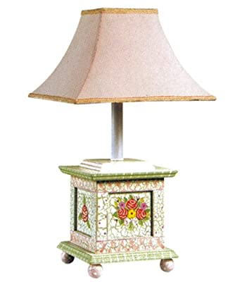 Fantasy Fields Crackled Rose Desk Lamp