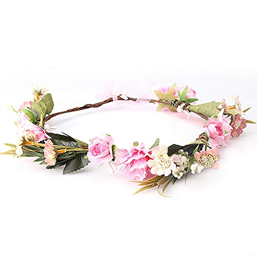 Bride Floral Crown Hair Band Flower Headbands for Women Garland Ribbon Bow Flower Wreath Wedding Girls Hair Accessories,style 1 pink -