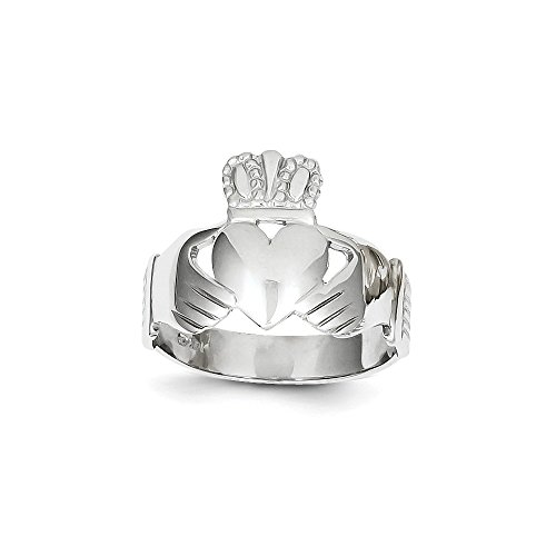 Size 11.5 - Solid 14k White Gold Men's Claddagh Ring (8mm)