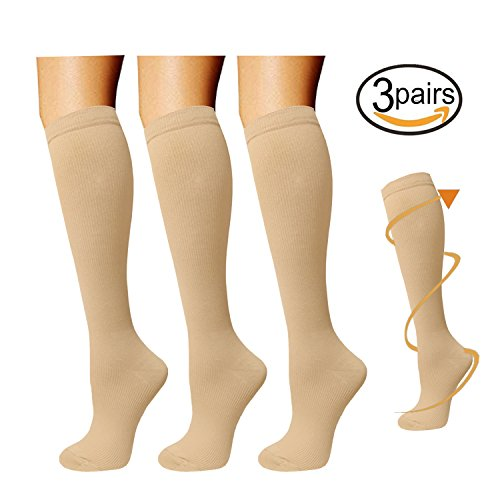 Knee High Natural (3 Pairs Knee High Graduated Compression Socks For Women and Men - Best Medical, Nursing, Travel & Flight Socks - Running & Fitness - 15-20mmHg (L/XL, Nude))