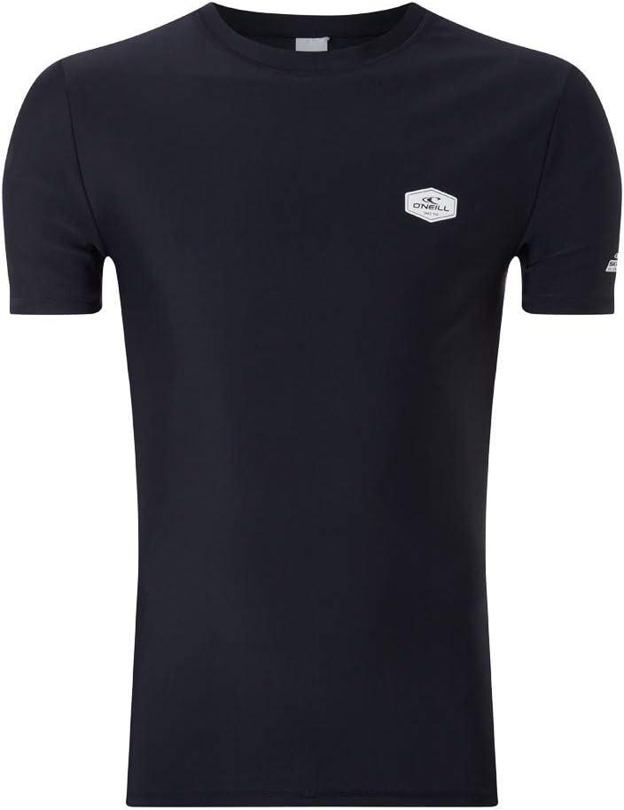 ONeill Essential - Camiseta de manga corta para hombre (protección UV), color negro y gris: Amazon.es: Ropa y accesorios