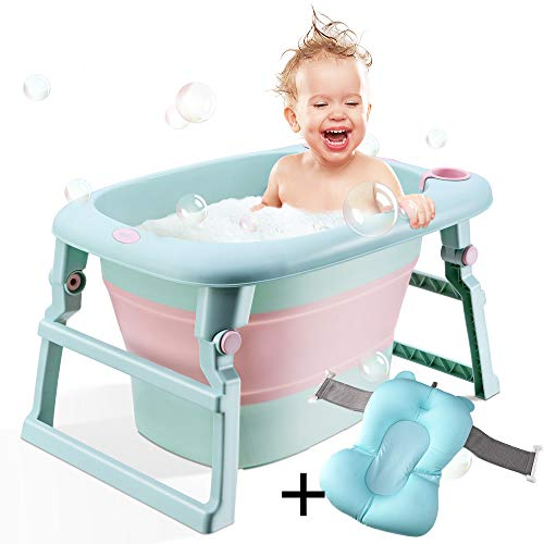BEWAVE Baby Bath Tub, Folding Infant Bathtub, Portable Collapsible Newborn Toddler Bath Support with Cushion for 0-6 Months