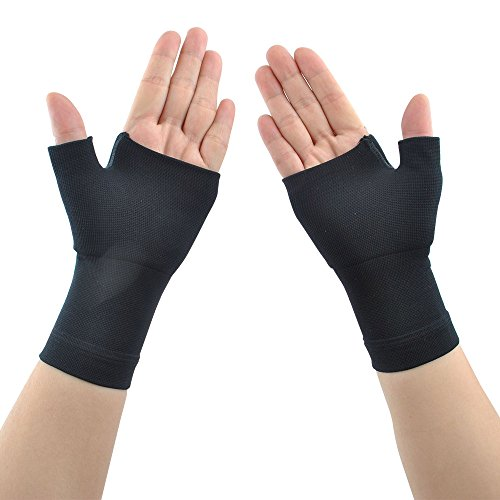 (Compression Arthritis Gloves (1 Pair) for Carpal Tunnel, Computer Typing,Athletes/Sports Cycling,Play Tennis Basketball Wrist Pain and Fatigue, and Arthritis (Black, M))