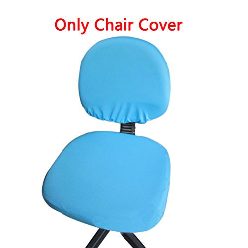 Trycooling Polyester Spandex Universal Stretch Rotating Pure Color Chair  Cover For Computer Office Desk (Lake Blue)