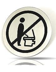 Kerafactum Wc-bordje zittend plassen Gelieve te plaatsen toiletinstructie instructiebord deurbordje toiletten rond van roestvrij staal mat glanzend Pictogram rond schild zelfklevend toilet Opmerking