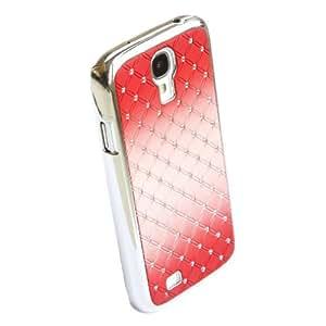 Red Case for Samsung Galaxy S4 i9500 New Gradual Change Color Diamond Rhinestone Bling Chrome Hard Cover Skin(Gift 2 PCS Sticker)