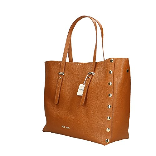 Made Italy Bags 34x31x15 Marron Impression Cm cuir main in véritable à Sac femme en Dollar POP 8TUqvpU