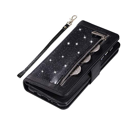 Shinyzone Glitter PU Case for Samsung Galaxy S8,Wallet Leather Flip Case with Zipper Pocket,Bling Cover with 9 Card Holder and Wrist Strap Magnetic Stand Function,Black by Shinyzone (Image #5)