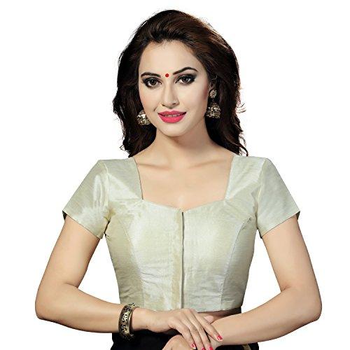 (TrendyFashionMall Readymade Short Sleeve Silk Saree Blouse Cream-Small(38))