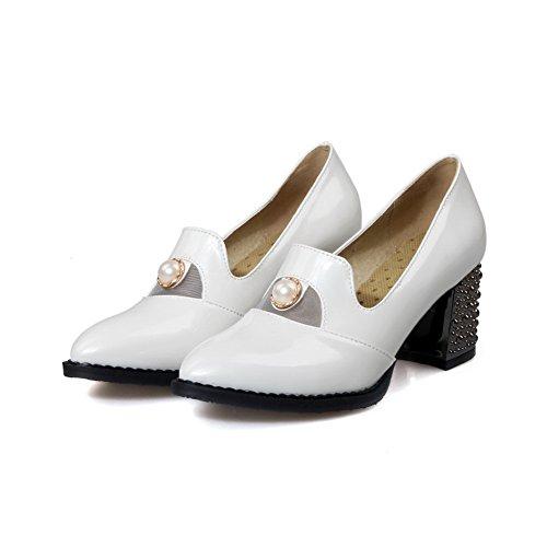 Balamasa Flickor Pärla Chunky Klackar Pådrags Imiterade Läder Pumpar-skor Vit