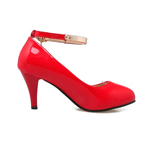 BalaMasa Womens Buckle Round-Toe Low-Cut Uppers Patent-Leather Pumps Shoes Red gmAEq