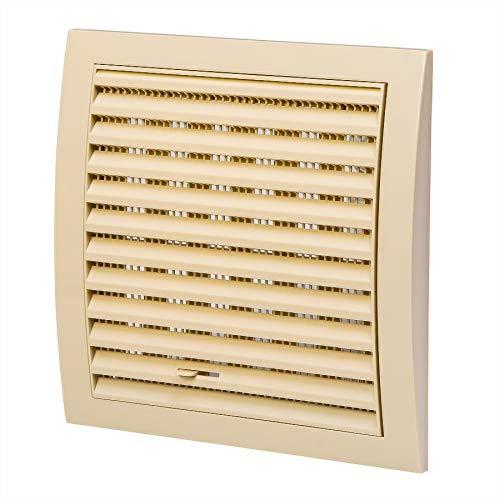 Griglia di ventilazione crema 190 x 190 mm protezione da insetti con cursore griglia in ABS