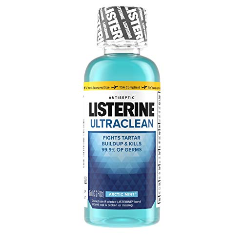 Listerine Ultraclean Oral Care Antiseptic Mouthwash with Everfresh Technology to Help Fight Bad Breath, Gingivitis, Plaque and Tartar, Arctic Mint, Travel size, 3.2 fl. - Size Travel Mouthwash