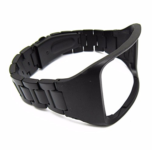 Black Stainless Steel Replacement Bracelet Wristband For Samsung Galaxy Gear S SM-R750 Watch Band Strap with Pin (Watch Gear)