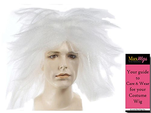 Beetlejuice Betelgeuse Color White - Lacey Wigs Adult White Keaton Movie Wild Demon Bundle With MaxWigs Costume Wig Care Guide -