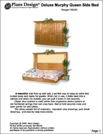 Deluxe Side / Horizontal Murphy Queen Wall Bed Project Plans, Design #3DLX2