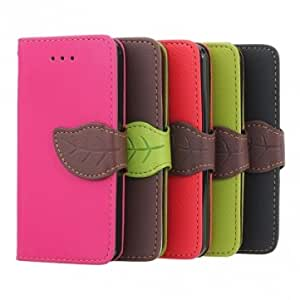 Leaves Button Wallet Design Folio PU Leather Case Cover For iPhone 5C @ Color==Red