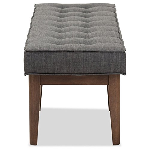 Baxton Studio Lucca Button Tufted Dining Bench in Dark Gray by Baxton Studio (Image #3)